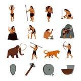 Icônes préhistoriques d'homme des cavernes d'âge de pierre Illustration Stock