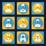 Icônes professionnelles d'avatar réglées Photos libres de droits