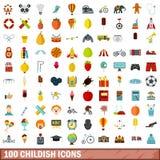 100 icônes puériles réglées, style plat Photographie stock libre de droits