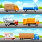 Icônes réalistes de camion sur la route Image stock