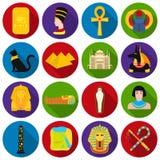 Icônes réglées antiques d'Egypte dans le style plat Grande collection d'illustration d'actions de symbole de vecteur d'Egypte ant Photographie stock