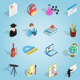 Icônes réglées d'éducation, style 3d isométrique Photo stock