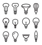 Icônes réglées d'ampoule sur le fond blanc Photographie stock