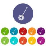 Icônes réglées de banjo Photos stock