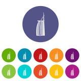 Icônes réglées de Burj Al Arab d'hôtel Photo libre de droits