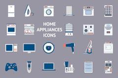 Icônes réglées de conception plate des appareils ménagers Image stock