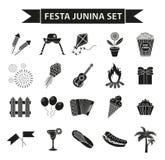 Icônes réglées de Festa Junina, style noir de silhouette Festival brésilien, célébration des symboles traditionnels Collection de Image stock
