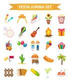 Icônes réglées de Festa Junina, style plat Festival latino-américain brésilien, célébration des symboles traditionnels Collection Photographie stock