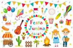 Icônes réglées de Festa Junina, style plat Festival latino-américain brésilien, célébration des symboles traditionnels Collection Images stock