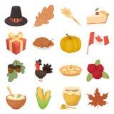 Icônes réglées de jour canadien de thanksgiving dans le style de bande dessinée Grande collection de symbole canadien d'illustrat Photos stock