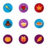 Icônes réglées de jour canadien de thanksgiving dans le style plat Grande collection des actions canadiennes de symbole de vecteu Photographie stock