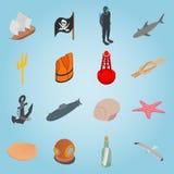 Icônes réglées de mer, style 3d isométrique illustration stock