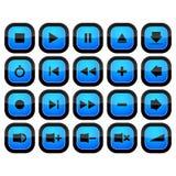 Icônes réglées de musique de bouton de contrôle de media Images stock