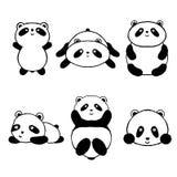 Icônes réglées de panda mignon de bande dessinée Image libre de droits