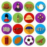 Icônes réglées de pays de l'Angleterre dans le style plat Grande collection d'illustration d'actions de symbole de vecteur de pay Photographie stock