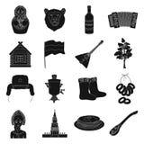 Icônes réglées de pays de la Russie dans le style noir Grande collection d'illustration d'actions de symbole de vecteur de pays d Photo libre de droits