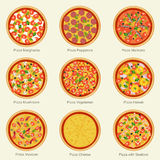 Icônes réglées de pizza Image stock