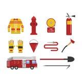 Icônes réglées de sécurité incendie de sapeur-pompier de vecteur Photo libre de droits