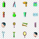 Icônes réglées de salon de coiffure Images stock
