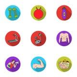 Icônes réglées de sport et de forme physique dans le style plat La grande collection du sport et la forme physique dirigent l'ill Photos libres de droits