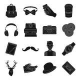 Icônes réglées de style de hippie dans le style noir Grande collection d'illustration d'actions de symbole de vecteur de style de Photographie stock libre de droits