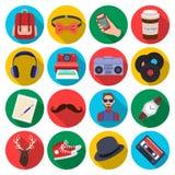 Icônes réglées de style de hippie dans le style plat Grande collection d'illustration d'actions de symbole de vecteur de style de Photo libre de droits