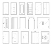 Icônes réglées des types de portes Images stock
