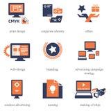 Icônes réglées pour Advertisement Company Photographie stock