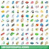 100 icônes réussies réglées, style 3d isométrique Image libre de droits