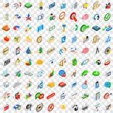 100 icônes réussies réglées, style 3d isométrique Photos stock