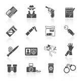 Icônes révélatrices réglées noires illustration stock