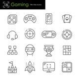 Icônes relatives de jeu et de jeux vidéo illustration de vecteur