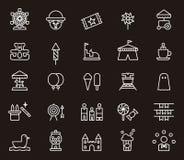 Icônes relatives de parc d'attractions Photographie stock