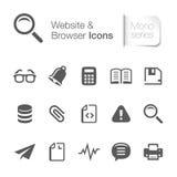 Icônes relatives de site Web mono Photos stock