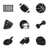 Icônes réglées de sport et de forme physique dans le style noir La grande collection du sport et la forme physique dirigent le sy Image stock
