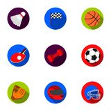 Icônes réglées de sport et de forme physique dans le style plat La grande collection du sport et la forme physique dirigent le sy Photo libre de droits