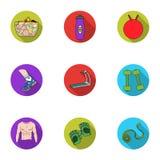 Icônes réglées de sport et de forme physique dans le style plat La grande collection du sport et la forme physique dirigent le sy Photo stock