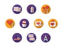 Icônes romantiques colorées rondes Images stock