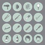 Icônes rondes d'équipement de coiffure Photographie stock libre de droits