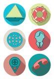 Icônes rondes dans des couleurs de mer Illustration Stock