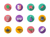 Icônes rondes de couleur d'accessoires de mascarade Images libres de droits