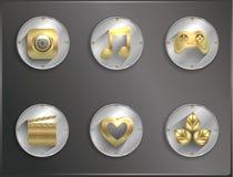 Icônes rondes en métal plates divertissement illustration de vecteur