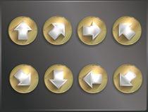 Icônes rondes Steampunk en métal, plat illustration libre de droits