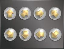 Icônes rondes Steampunk en métal, plat illustration stock