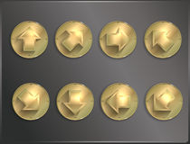 Icônes rondes Steampunk en métal, plat flèches illustration stock