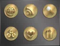 Icônes rondes Steampunk en métal, plat Smartphone illustration de vecteur