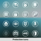 Icônes rougeoyantes transparentes de protection de fantôme Images libres de droits