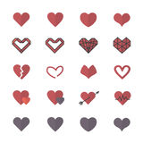 Icônes rouges de coeur et icônes plates de style d'illustration de Valentine Icons Set Of Vector Photos stock
