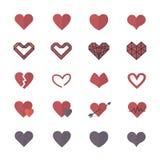 Icônes rouges de coeur et icônes plates de style d'illustration de Valentine Icons Set Of Vector Illustration de Vecteur