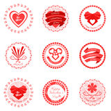 Icônes rouges de jour de valentines Illustration de vecteur illustration stock